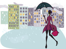 Girl with an umbrella Stock Photos
