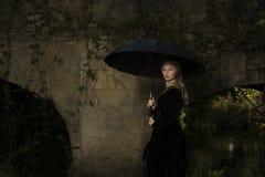 Girl. A girl with an umbrella in the rain Stock Photos