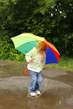 Girl with an umbrella in the rain Stock Photography