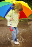 Girl with an umbrella in the rain Stock Photos