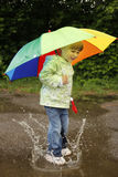 Girl with an umbrella in the rain Royalty Free Stock Photography