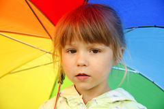 Girl with an umbrella in the rain Royalty Free Stock Image