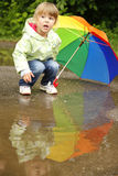Girl with an umbrella in the rain Royalty Free Stock Photo