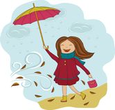 Girl with umbrella in the rain Royalty Free Stock Photography