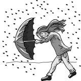 Girl with umbrella in rain storm Stock Photos