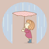 Girl with umbrella standing under pouring rain. Royalty Free Stock Photography