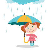 Girl with umbrella standing under the rain. Royalty Free Stock Photography