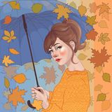 girl with umbrella, under leaffall royalty free stock photos