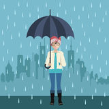 Girl with umbrella. Girl with umbrella under the rain. Big city silhouette on the background. Flat illustration of Autumn royalty free illustration