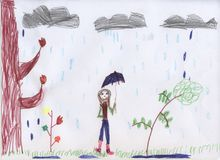 A girl with an umbrella is walking in the rain. Children`s drawing royalty free illustration
