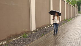 Girl with umbrella walking in a rainy day in Park. stock video footage