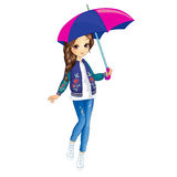 Girl With Umbrella Walking. Vector illustration of fashion city girl in walking and hold umbrella Royalty Free Stock Images