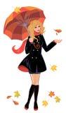 Girl with umbrella on white background, autumn season. People vector illustration