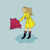 Girl with an umbrella. Girl in yellow raincoat rubber boots with an umbrella Royalty Free Stock Photos