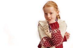 Girl undecided. On white background Stock Images