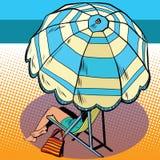 Girl under a beach umbrella vacation at sea Royalty Free Stock Images