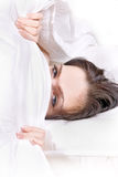 Girl under blanket Royalty Free Stock Photo