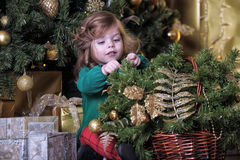 Girl  under the Christmas tree. The girl with a gift under the Christmas tree Royalty Free Stock Image