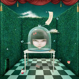 Girl under glass cover royalty free illustration