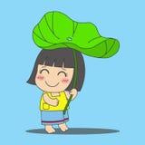 Girl under lotus leaf Stock Photo
