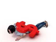 Girl under money Stock Images