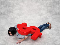 Girl under money Royalty Free Stock Images