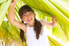 Girl under palm branch Stock Image