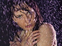 Girl under a rain. Beautiful young girl under a rain Stock Image