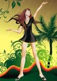 Girl under a rain royalty free illustration