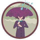 Girl under the rain. Stylish illustration Royalty Free Stock Photo