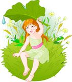 Girl under rain. Cute little girl wearing rain gear, carrying  leaf. Vector Royalty Free Stock Images