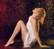 Girl Under Rain Stock Images