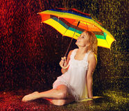 Girl Under Rain Royalty Free Stock Photo