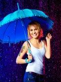 Girl Under Rain Royalty Free Stock Photography