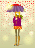 Girl under rain of small hearts Stock Photography