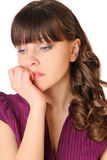 Girl is under stress and nervous Royalty Free Stock Images