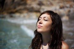 Girl under sunlight Stock Photography