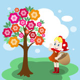 Girl under tree Stock Photo