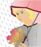 The girl under an umbrella Stock Images