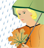 The girl under an umbrella Stock Image