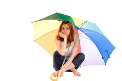 Girl under umbrella Royalty Free Stock Photo