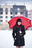 Girl under umbrella Royalty Free Stock Image
