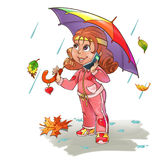 Girl under umbrella Royalty Free Stock Photos