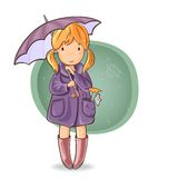 Girl under an umbrella Royalty Free Stock Photography