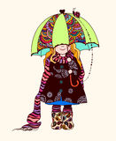 Girl under the umbrella. Cute girl with painted patterns on clothing and an umbrella,  illustration, bright colors Royalty Free Stock Photography