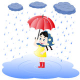 Girl under an umbrella and rain Royalty Free Stock Photos