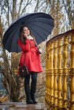 The girl under the umbrella royalty free stock images