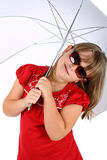 Girl under umbrella with sunglasses isolated Stock Photography