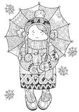 Girl under umbrella in winter hand drawn doodle. Royalty Free Stock Images