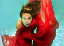 Girl under the water Stock Photo